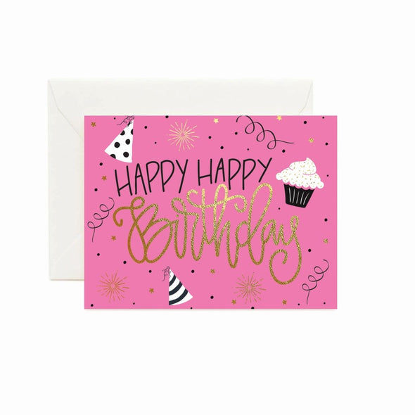 Pink Happy Birthday Greeting Card