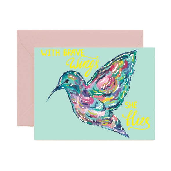 With Brave Wings Greeting Card
