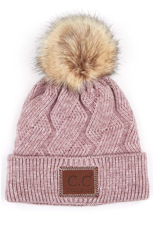 C.C Geometric Cable Beanie with Faux Fur Pom
