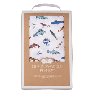Fishing Muslin Swaddle Blanket for Baby Boy