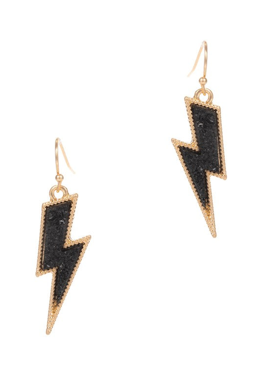 Lightning Bolt Faux Druzy Hook Earrings in Several Colors
