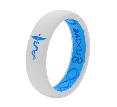 Groove Life Snow and Blue Healthcare Silicone Ring