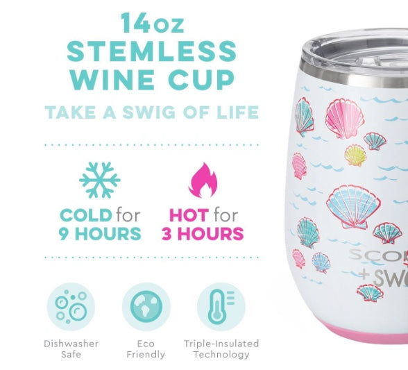 Swig Let's Shellabrate 14oz Stemless Wine Cup