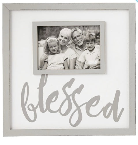 Cream and Grey Blessed Picture Frame