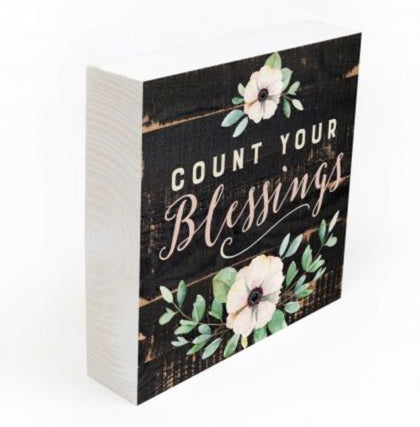 Count Your Blessings Wooden Block Sign