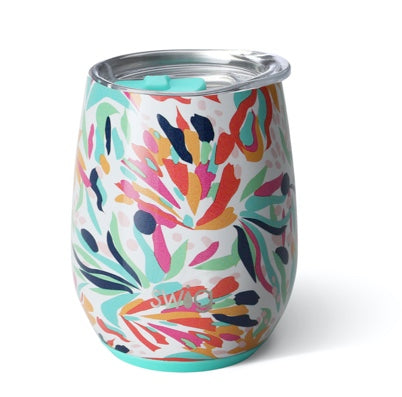 Swig Wild Flower 14oz Stemless Wine Cup