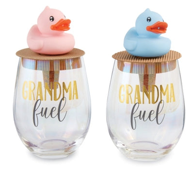 Grandma Fuel Wine Glass and Topper Set