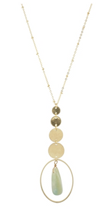 4 Disk Drop and Oval Amazonite Gold Chain Necklace