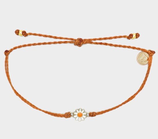 Pura Vida Burnt Orange Gold Daisy Bracelet