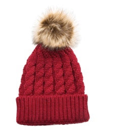 Ruby Cable Knit Pom Beanie