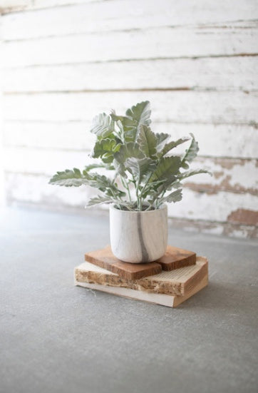 Artificial Plant With Faux Marble Pot