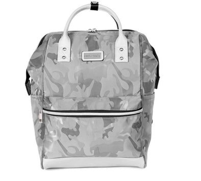 The Ava Travel Backpack In Grey Camo