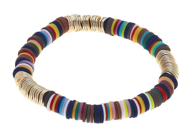 Rubber Discs Stretch Bracelet In Several Colors