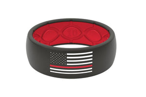 Groove Life Thin Line Fire Fighter Silicone Men's Ring