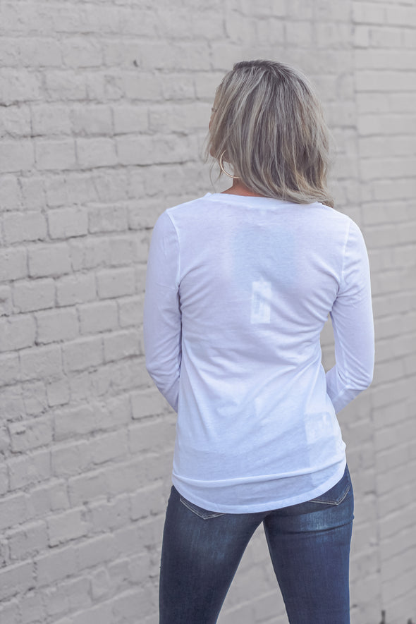 Z Supply Long Sleeve Pocket Tee White