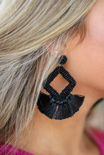 Black Cotton Tassel Statement Earrings LP