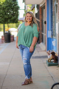 Sage Cold Shoulder Curvy Top