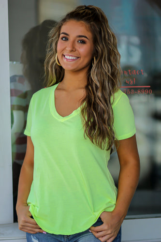 Z Supply Neon Lime V Neck Tee