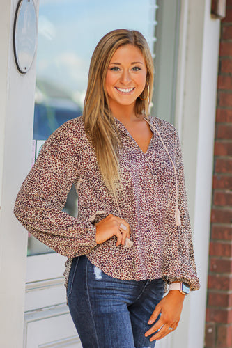 Leopard Print Blouse with Ties
