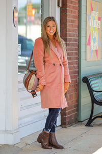 Apricot Soft Fleece Pea Coat