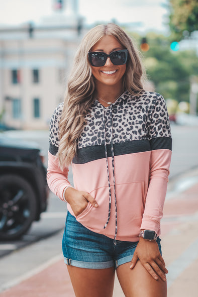Leopard and Blush Colorblock Sweatshirt