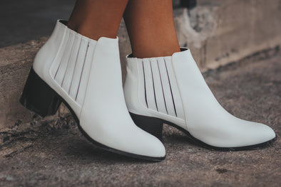 White Pointed Toe Bootie