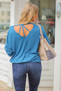 Teal Solid Top with Strappy Back