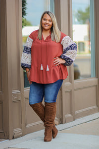 Curvy Rust Peasant Top