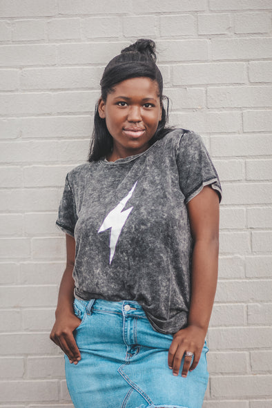 Charcoal Mineral Washed Lightening Bolt Graphic Tee
