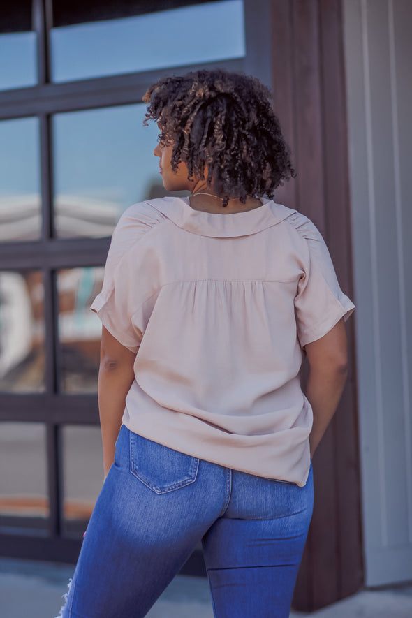 Taupe Button Down Short Sleeve Blouse