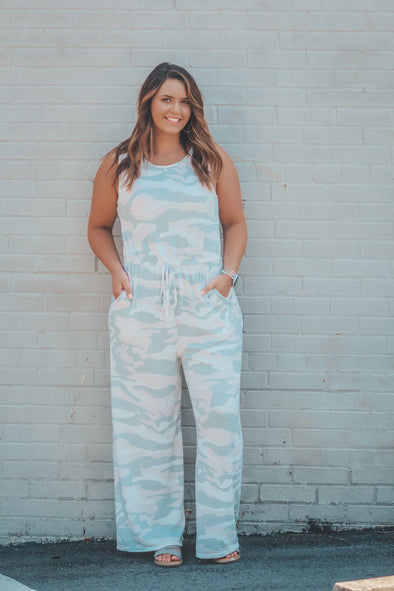 White and Blush Camo Curvy Jumpsuit