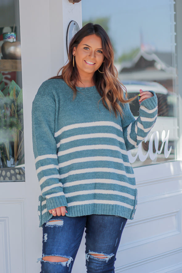 Jade And Ivory Striped Sweater In Regular And Curvy