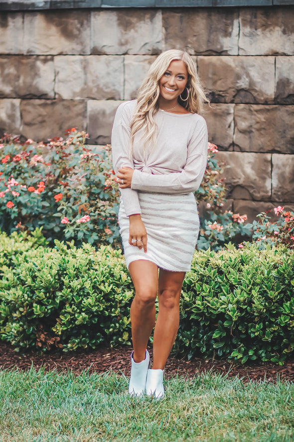 Ivory And Taupe Tiger Print Sweater Skirt