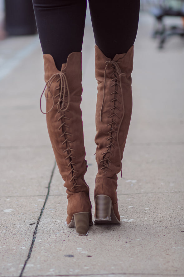 The Jennifer Over The Knee Boot in Chestnut