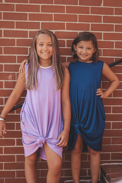 Girls Solid Sleeveless Tunic Dress