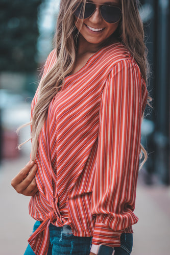 Brick Striped Wrap Top