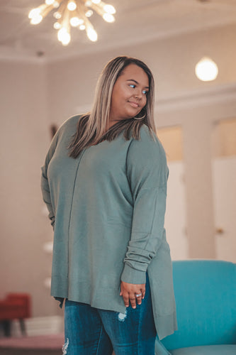 Curvy Soft Garment Dyed Sweater