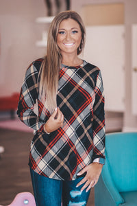 Black Plaid top with Leopard Sleeves