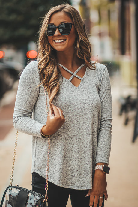 Brushed Knit Criss Cross Top in Three Colors