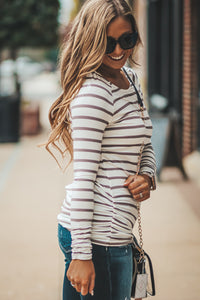 Ivory Striped Long Sleeve Tunic in Three Colors