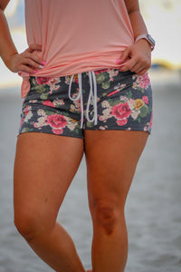 Charcoal Floral Shorts