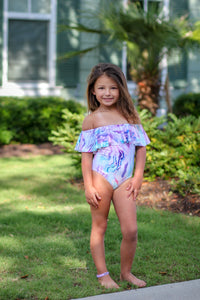 Kids Marble Off the Shoulder Swimsuit