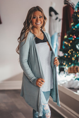 Open Front Draped Cardigan in Rust or Seafoam