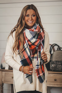 Multi Color Plaid Frayed Blanket Scarf in 4 Colors
