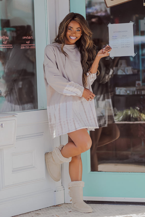Taupe Long Sleeve Ombre Tie Dye Mini Dress