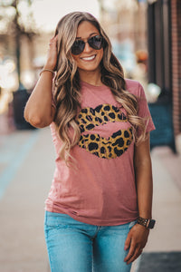 Leopard Lips Graphic Tee in Three Colors