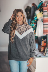 Leopard Brushed Colorblock Top