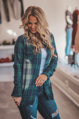 Forest Navy Frayed Flannel