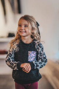 Charcoal Kids top With Leopard Sleeves