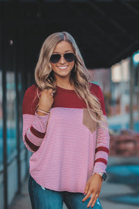 Wine Pinstripe Sleeve Top with Suede Pocket